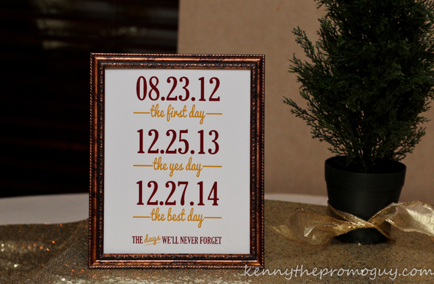 John and Chelsea's Date Marker at their utica radisson reception
