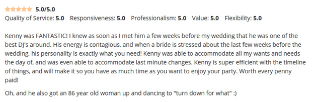 Utica Wedding DJ Kenny The Promo Guy Review